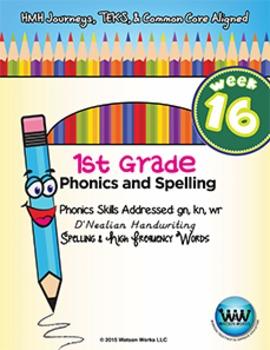 1st Grade Phonics and Spelling D'Nealian Week 16 (gn, kn, wr) {TEKS-aligned}
