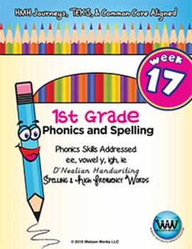 1st Grade Phonics and Spelling D'Nealian Week 17 (ee, vowel y, igh, ie)