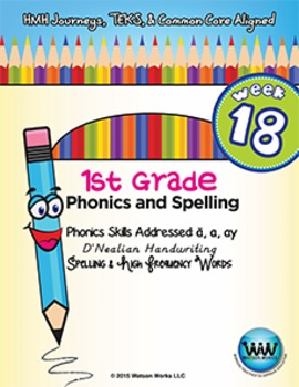 1st Grade Phonics and Spelling D'Nealian Week 18 (long a, ai, ay) {TEKS-aligned}