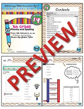 1st Grade Phonics and Spelling D'Nealian Week 19 (long o, oa, ow)