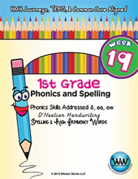 1st Grade Phonics and Spelling D'Nealian Week 19 (long o, oa, ow)