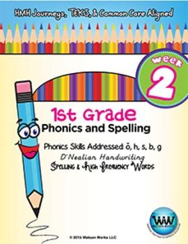 1st Grade Phonics and Spelling D'Nealian Week 2 (short o, h, s, b, g)