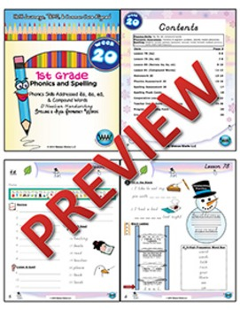 1st Grade Phonics and Spelling D'Nealian Week 20 (ea, Compound Words)