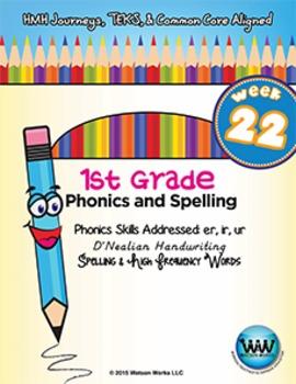 1st Grade Phonics and Spelling D'Nealian Week 22 (er, ir, ur) {TEKS-aligned}