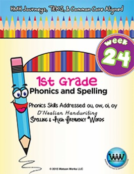 1st Grade Phonics and Spelling D'Nealian Week 24 (ou, ow, oi, oy) {TEKS-aligned}