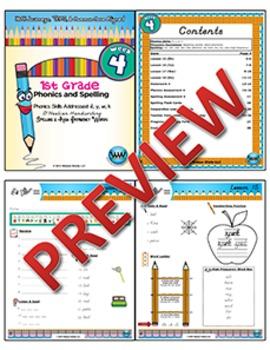 1st Grade Phonics and Spelling D'Nealian Week 4 (short e, y, w, k)