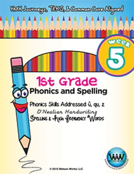1st Grade Phonics and Spelling D'Nealian Week 5 (short u, qu, z)