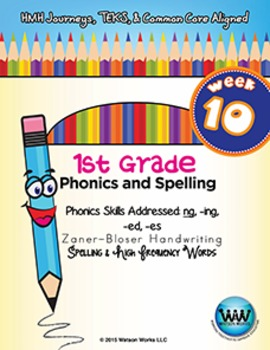 1st Grade Phonics and Spelling Zaner-Bloser Week 10 (ng, -ing, -ed, -es)
