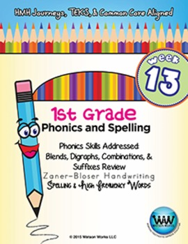 1st Grade Phonics and Spelling Zaner-Bloser Week 13 (Review)