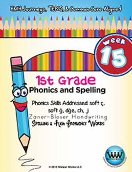 1st Grade Phonics and Spelling Zaner-Bloser Week 15 (soft