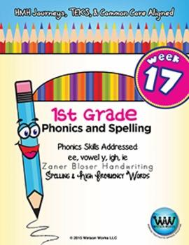 1st Grade Phonics and Spelling Zaner-Bloser Week 17 (ee, vowel y, igh, ie)