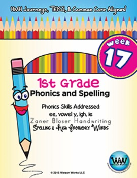 1st Grade Phonics and Spelling Zaner-Bloser Week 17 (ee, v
