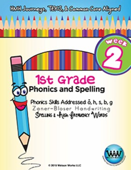 1st Grade Phonics and Spelling Zaner-Bloser Week 2 (short o, h, s, b, g)