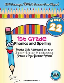 1st Grade Phonics and Spelling Zaner-Bloser Week 22 (er, ir, ur) {TEKS-aligned}