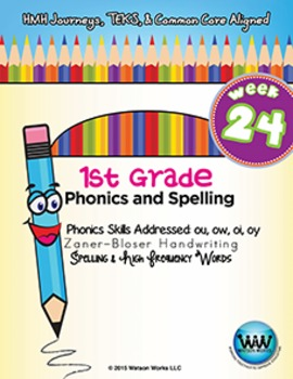 1st Grade Phonics and Spelling Zaner-Bloser Week 24 (ou, ow, oi, oy)