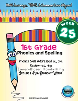 1st Grade Phonics and Spelling Zaner-Bloser Week 25 (au, aw, -ed, -ing)