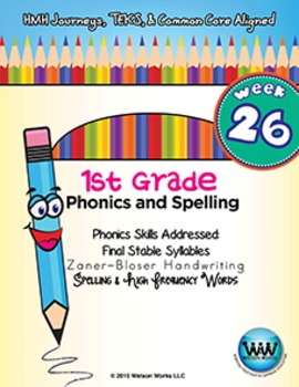1st Grade Phonics and Spelling Zaner-Bloser Week 26 (Final Stable Syllables)