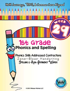 1st Grade Phonics and Spelling Zaner-Bloser Week 29 (Contr