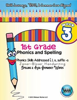 1st Grade Phonics and Spelling Zaner-Bloser Week 3 (short i, l, x, -s)