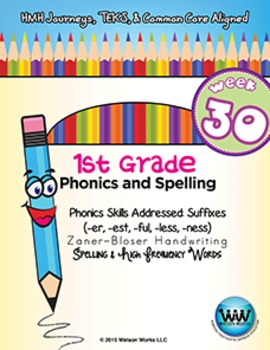 1st Grade Phonics and Spelling Zaner-Bloser Week 30 (er, est, ful, less, ness)