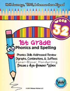 1st Grade Phonics and Spelling Zaner-Bloser Week 32 (Review) {TEKS-aligned}