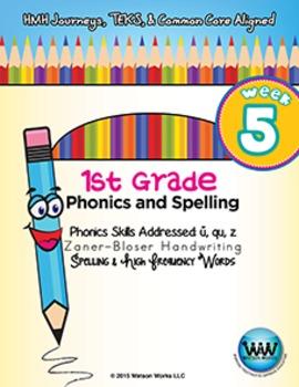 1st Grade Phonics and Spelling Zaner-Bloser Week 5 (short u, qu, z)