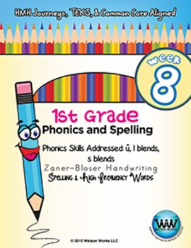1st Grade Phonics and Spelling Zaner-Bloser Week 8 (short u, l blends, s blends)