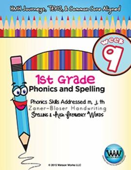 1st Grade Phonics and Spelling Zaner-Bloser Week 9 (m, j, th) {TEKS-aligned}