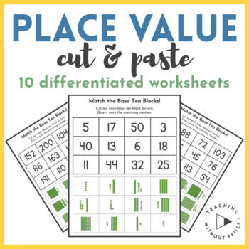 1st Grade Place Value Cut and Paste Differentiated Practice Worksheet