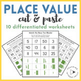 Place Value Cut & Paste Differentiated Practice Count Base Ten Blocks Worksheet
