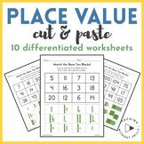 Place Value Cut & Paste Differentiated Practice Count Base Ten Blocks Worksheet