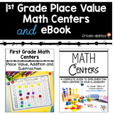 1st Grade Place Value Math Centers and eBook BUNDLE