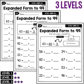 Differentiated First Grade Place Value Worksheets