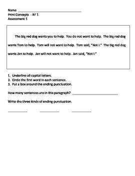 1st Grade Print Concepts Assessments