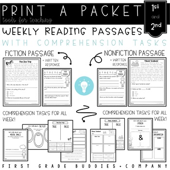 1st - 2nd Grade Print a Packet: NO PREP Reading Comprehension Weekly Mini Packs