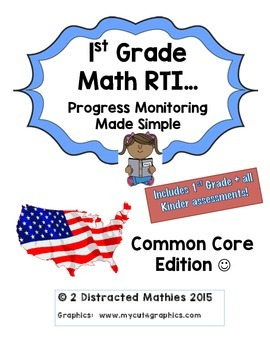 1st Grade Progress Monitoring Pack:  Common Core Edition