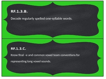 """1st Grade RELA Common Core Standard and """"I Can"""" cards"""