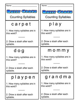1st Grade Rally Coach Counting Syllables