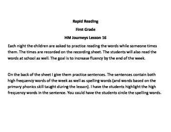 1st Grade Rapid Reading Chart for Journeys Lesson 16