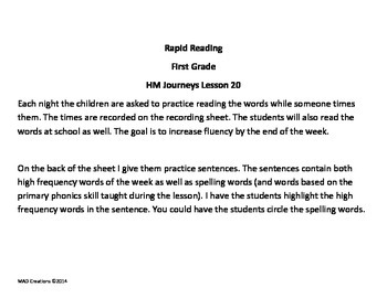 1st Grade Rapid Reading Chart for Journeys Lesson 20