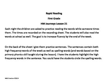1st Grade Rapid Reading Chart for Journeys Lesson 21