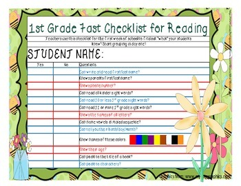 1st Grade Reading Checklist for up to 10 students