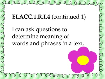 1st Grade Reading Common Core Standards-Student Friendly- Flower Theme