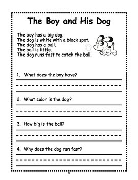 1st Grade Reading Comprehension First Grade Reading ...