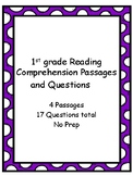 1st Grade Reading Comprehension Passages & Questions - No Prep - 4 Passages