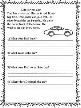 1st Grade Reading Comprehension Passages & Questions - No Prep - 4 Passages