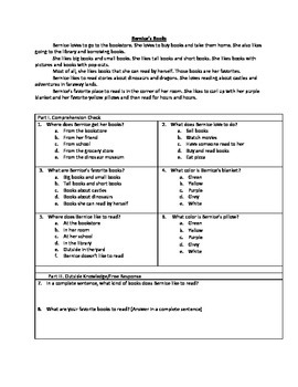 1st Grade Reading Comprehension and Testing Practice
