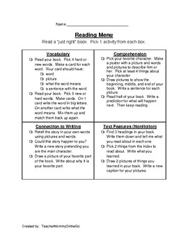 1st Grade Reading Extension Menu