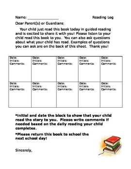1st Grade Reading Log with Parent Questions