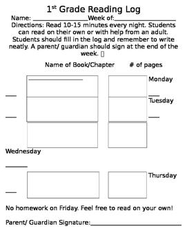 1st Grade Reading Log